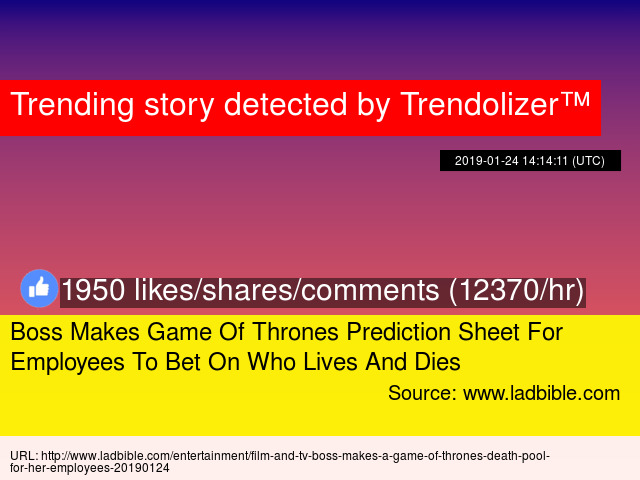 Boss Makes Game Of Thrones Prediction Sheet For Employees To Bet On