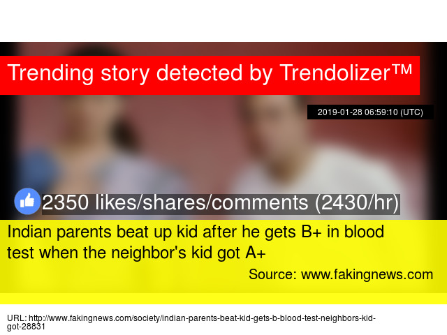 Indian parents beat up kid after he gets B+ in blood test