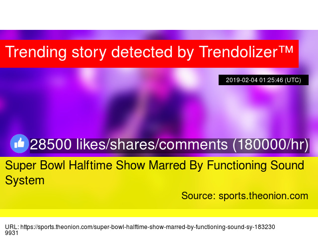 Super Bowl Halftime Show Marred By Functioning Sound System