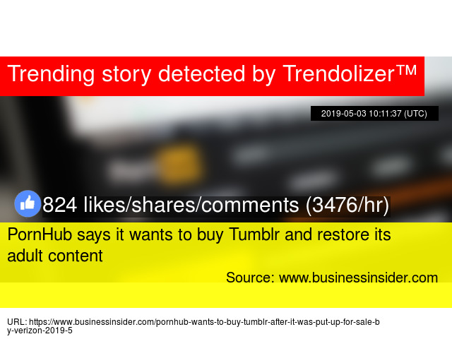 PornHub says it wants to buy Tumblr and restore its adult