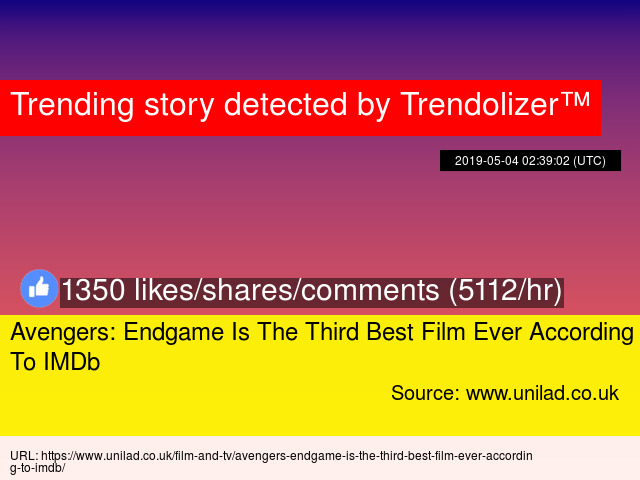 Avengers Endgame Is The Third Best Film Ever According To Imdb