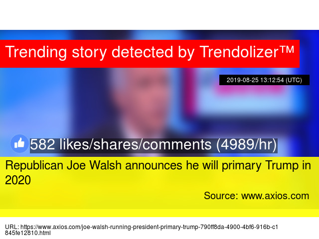 Republican Joe Walsh announces he will primary Trump in 2020