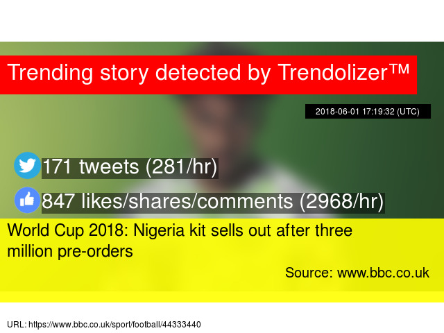 1bf6f0d6d World Cup 2018  Nigeria kit sells out after three million pre-orders