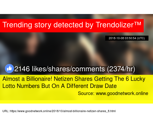 Almost a Billionaire! Netizen Shares Getting The 6 Lucky