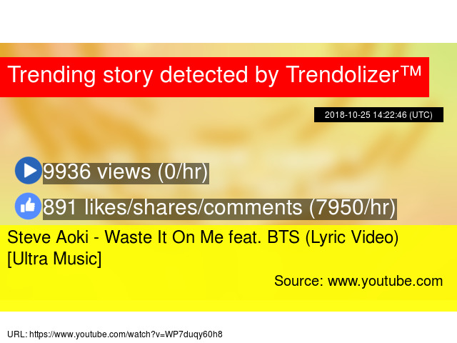 Steve Aoki - Waste It On Me feat  BTS (Lyric Video) [Ultra